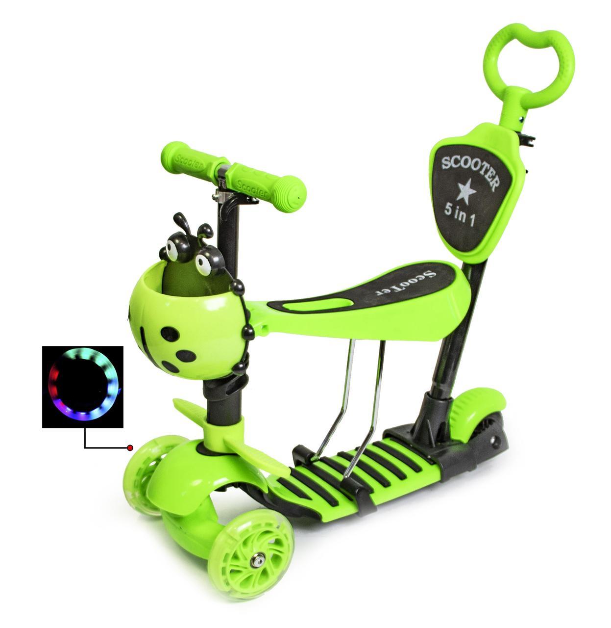"""Самокат Scooter """"Божья коровка"""" 5в1 Green"""