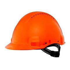 Защитная каска 3M™, Uvicator, штифтовый замок, с вентиляцией, пластиковая налобная лента, оранжевый цвет, G300