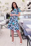 Платье летнее батал NOBILITAS 50 - 56 голубое лен (арт. 20020)