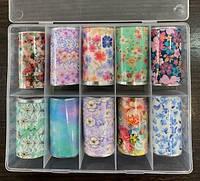 Новинка!Набір фольги для манікюру -квіти,10 штук в упаковці, фото 1