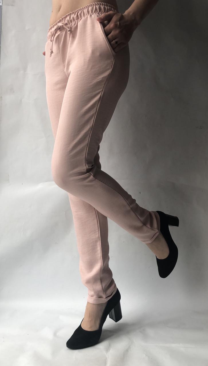 Летние брюки из льна-коттона №14 БАТАЛ пудра
