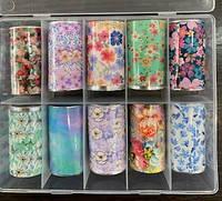 Новинка!Набор фольги для маникюра цветы ,10 штук в упаковке