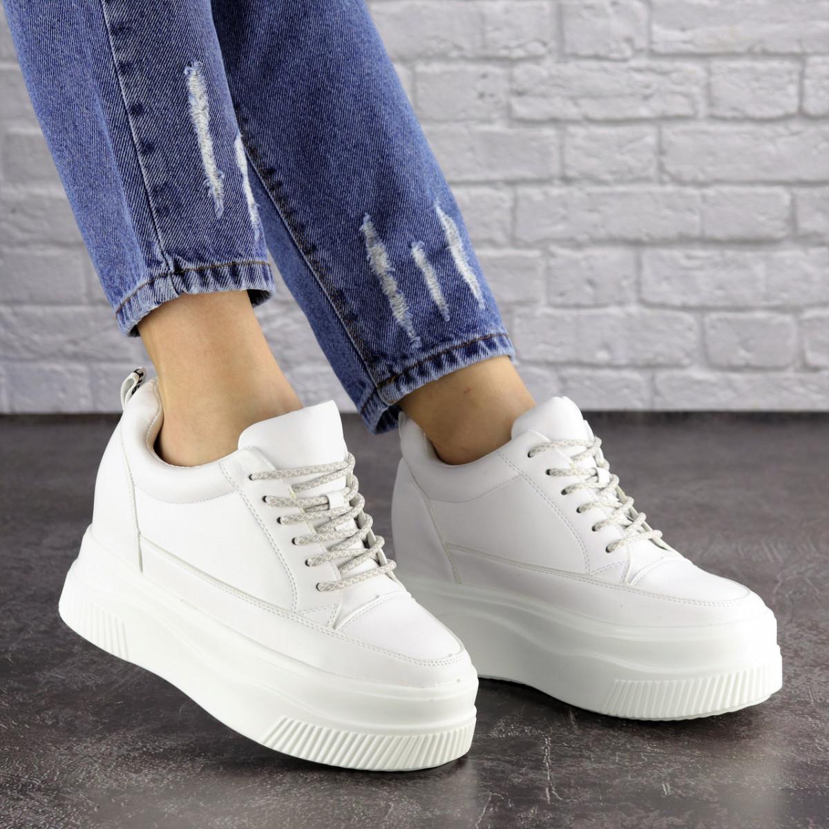 Женские стильные кроссовки на танкетке Fashion Murgie 1671 38 размер 24 см Белый