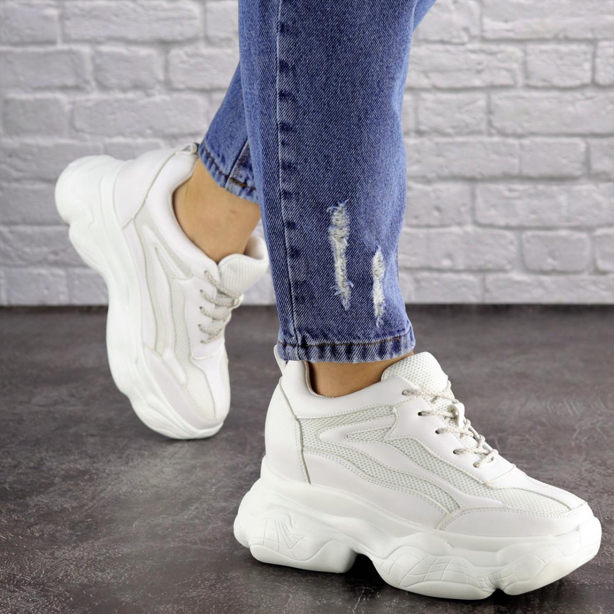 Женские стильные кроссовки на танкетке Fashion Penny 1673 36 размер 23 см Белый