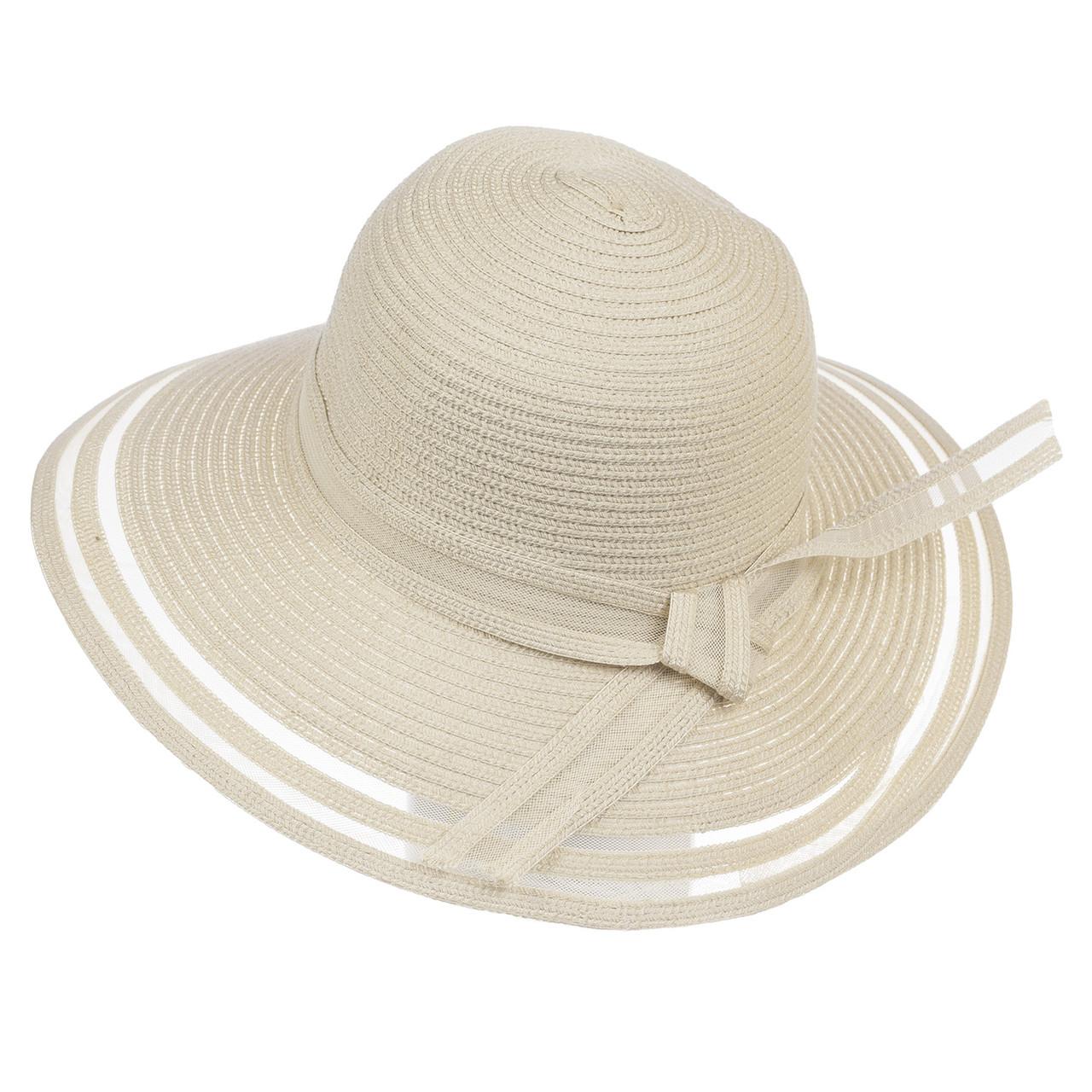 Шляпа женская Marmilen Полоски светло бежевая ( ШС-20-02 )