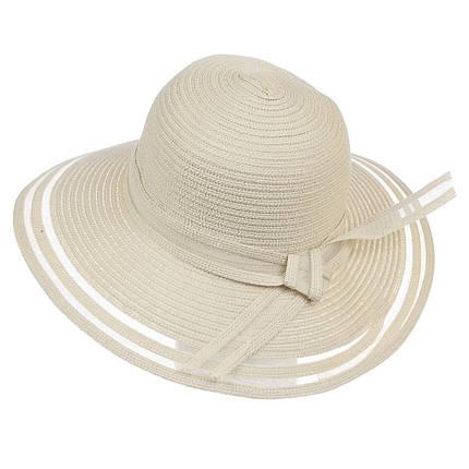 Шляпа женская Marmilen Полоски светло бежевая ( ШС-20-02 )   , фото 2