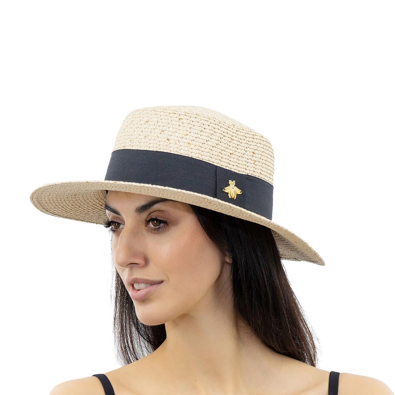 Шляпа женская Marmilen Пчелка С пайеткой светло бежевая( ИУ-06-16 )