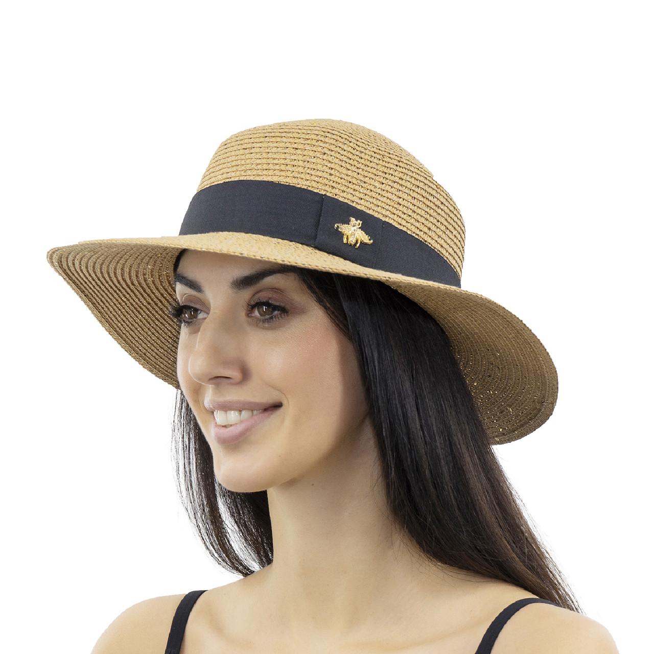 Шляпа женская Marmilen Пчелка С пайеткой темно бежевая( ИУ-06-15 )