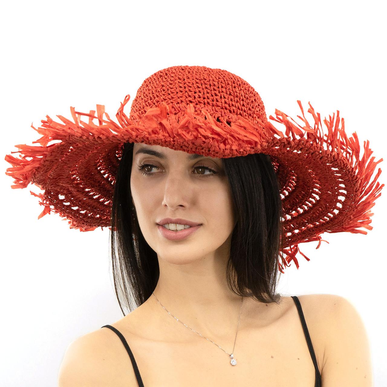 Шляпа женская Marmilen Вязаная С бахромой красная( ШС-29-03 )