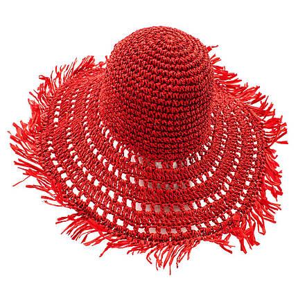 Шляпа женская Marmilen Вязаная С бахромой красная( ШС-29-03 )   , фото 2
