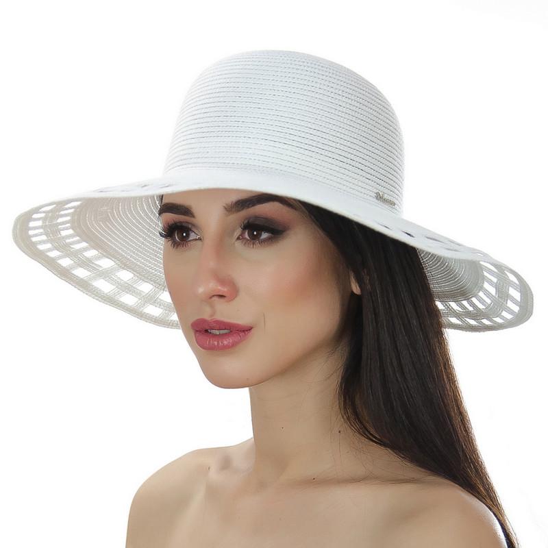 Шляпа женская Del Mare Поле-Квадраты белая ( DM-005-02 )