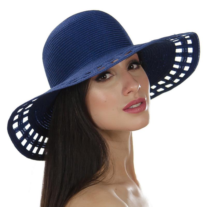 Шляпа женская Marmilen Поле-Квадраты синяя ( DM-005-05 )
