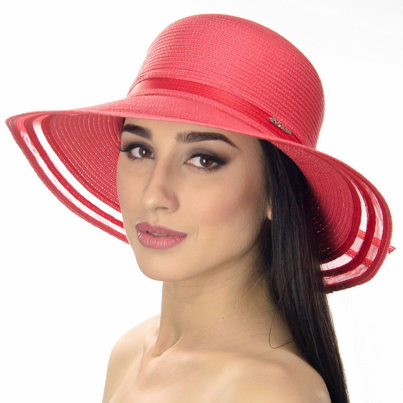 Шляпа женская Del Mare Поле-Полосы темно розовая ( DM-043-41 )