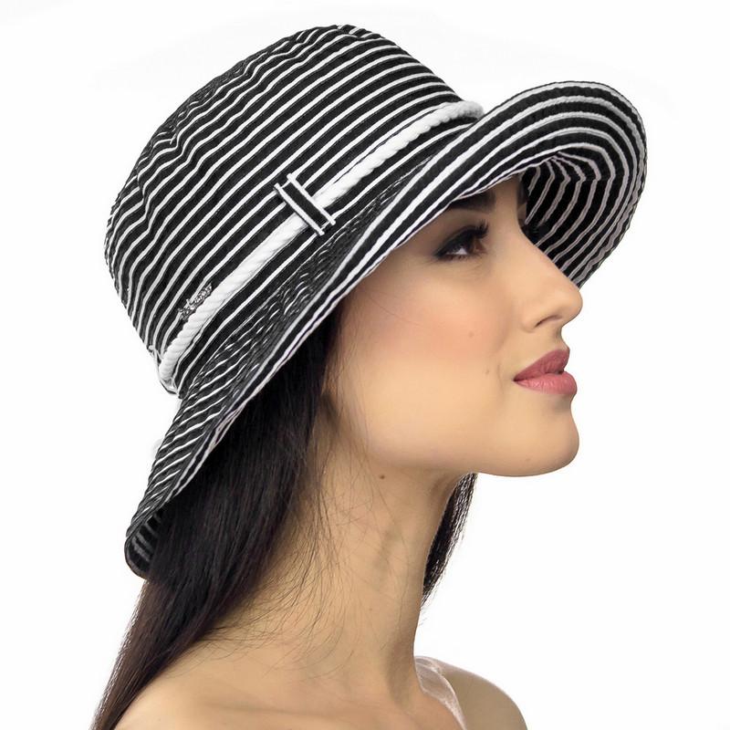 Шляпа женская Marmilen Страйпс-Жгут черно белая ( DM-110-01 )
