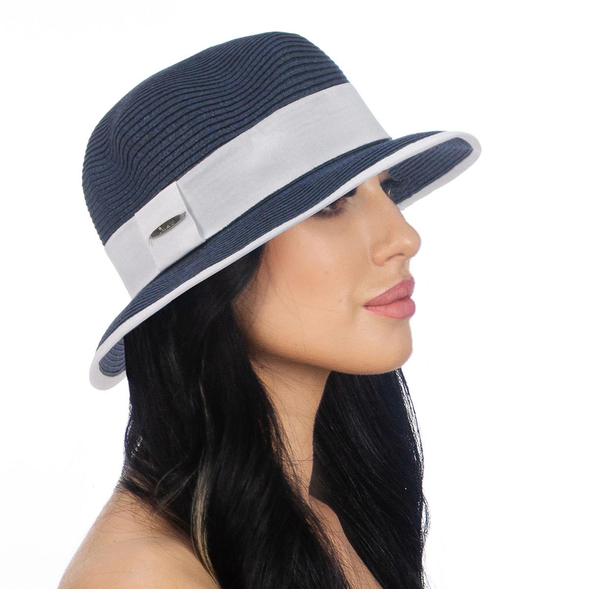 Шляпа женская Del Mare Ирэн темно синя с белым ( DM-142-0502 )