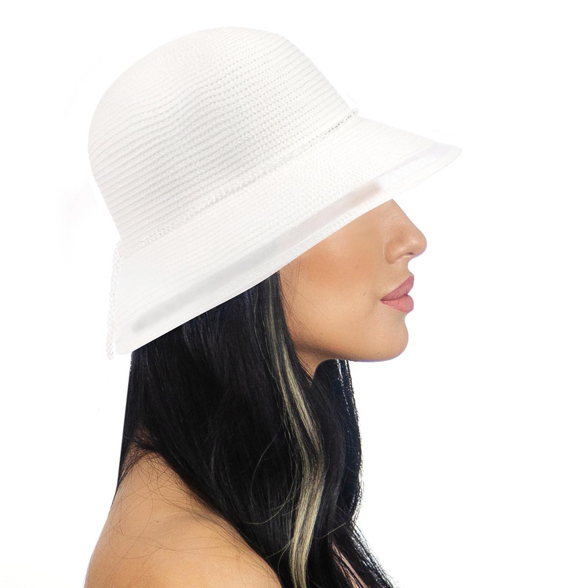 Шляпа женская Marmilen Стразы сетка белая( DM-157-02 )