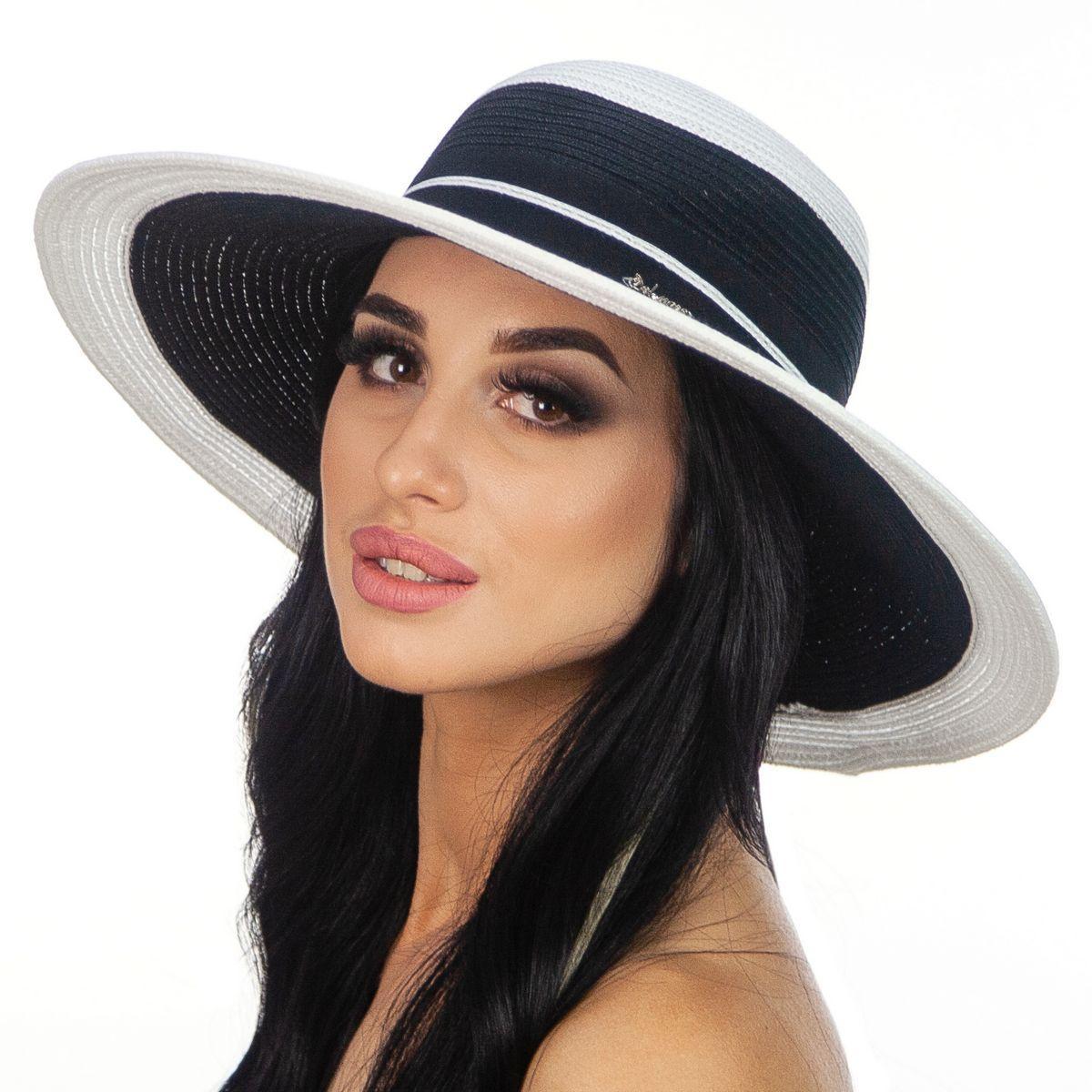 Шляпа женская Del Mare Гранд полоска бело черная( DM-166-0201 )