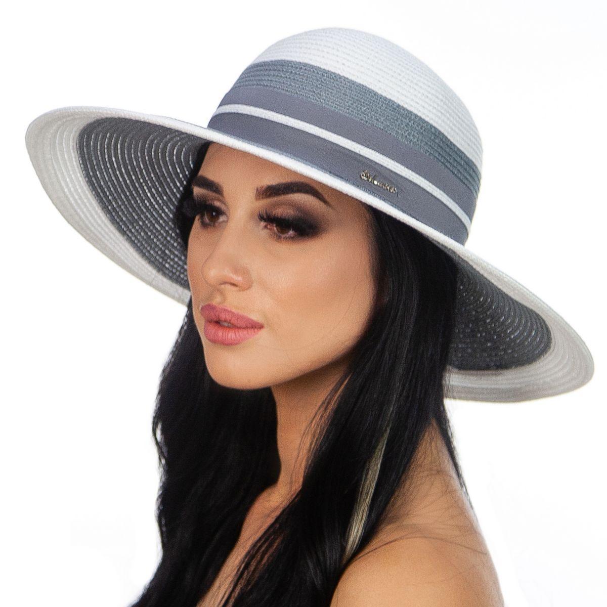 Шляпа женская Del Mare Гранд полоска бело серая( DM-166-0206 )