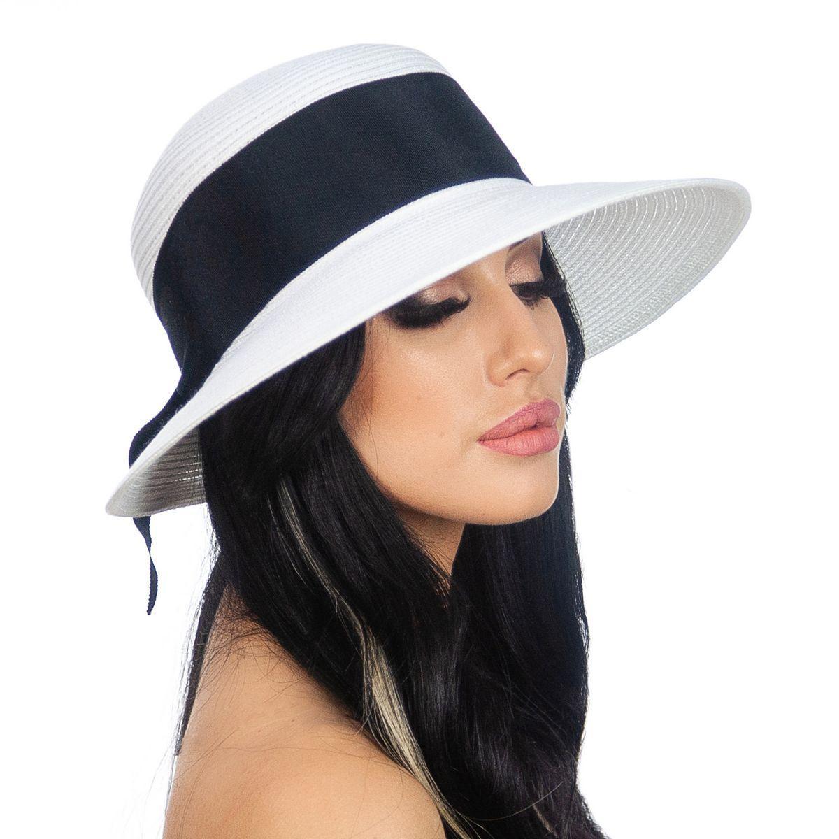 Шляпа женская Marmilen Бона бант бело черная( DM-170-0201 )