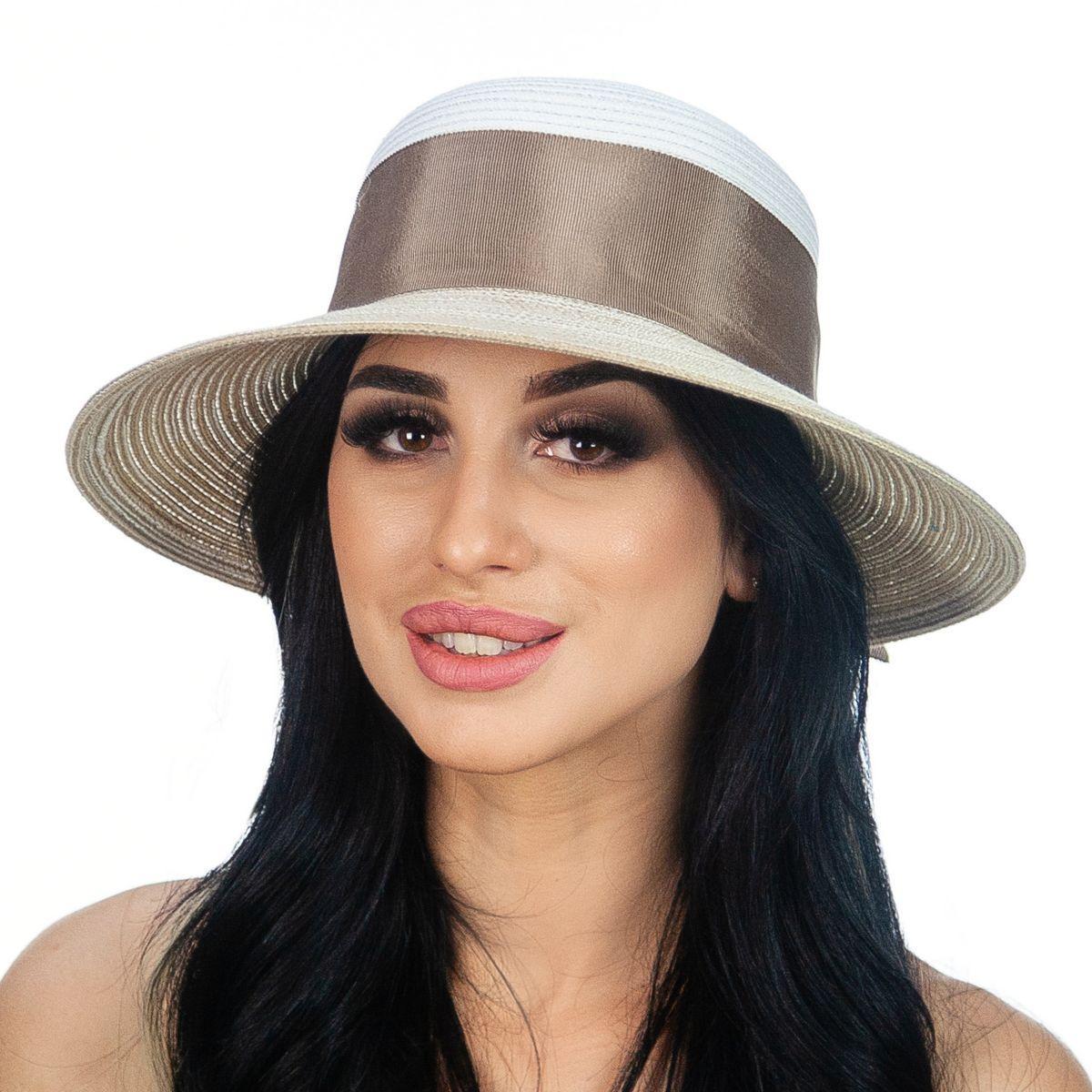 Шляпа женская Marmilen Бона бант бело коричневая( DM-170-0232 )