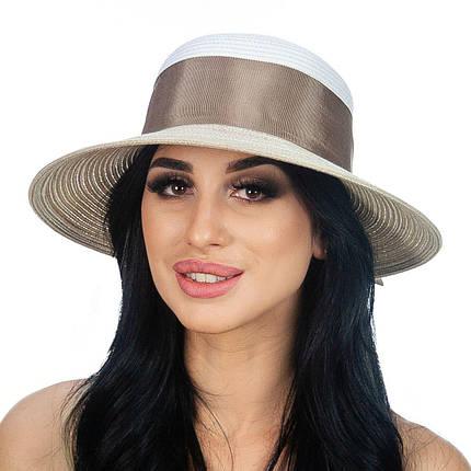 Шляпа женская Marmilen Бона бант бело коричневая( DM-170-0232 )   , фото 2