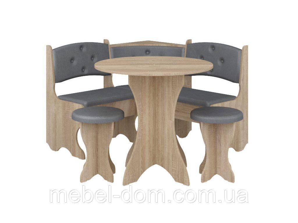 Кухонный уголок с круглым столом Боярин Дуб сонома+Серый