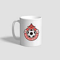 "Белая кружка (чашка) с логотипом футбольного клуба ""Буковина"""
