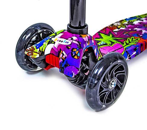 Самокат детский MAXI. GRAFFITI HIP-HOP. Светящиеся колеса!, фото 2
