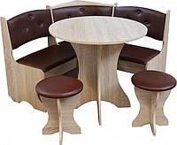Кухонный уголок с круглым столом Боярин Дуб сонома+Коричневый