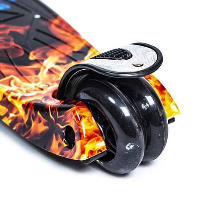 Самокат дитячий MAXI. Fire and Ice. Світяться чорні колеса, фото 2