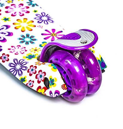 Самокат детский MAXI. Violet Flowers. Светящиеся колеса, фото 2