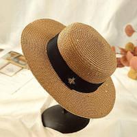 Женская летняя шляпа канотье с пчелой в стиле Гуччи c пайетками кофе с молоком, фото 1