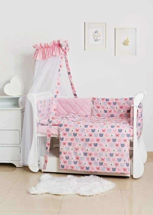 Детское постельное белье Twins Premium Glamour TG-08B Bear pink