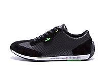 Мужские кожаные летние кроссовки, перфорация Lacoste Lerond black (реплика), фото 1