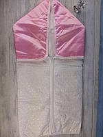 Конверт для выписки ребёнка, белый с розовым капюшоном