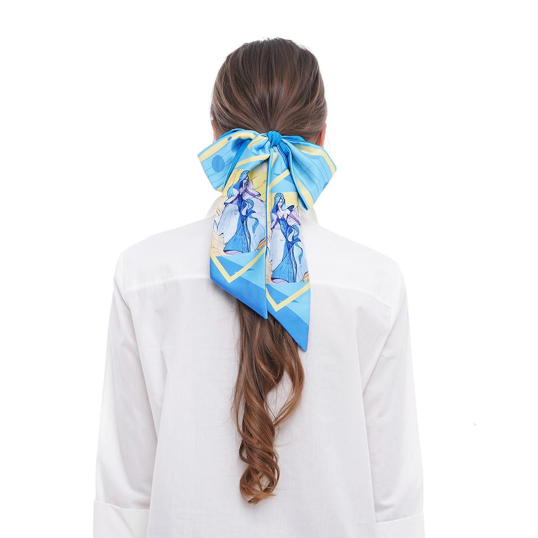 """Твилли - дизайнерський шарфик краватка """"Фея блакитних снів"""", стрічка для волосся"""