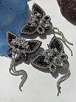 Брошь бабочка ручной работы, вышитая брошка черного цвета
