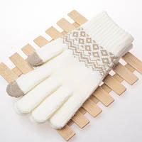 Вязанные перчатки для сенсорных экранов iTouch Белый с орнаментом