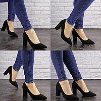 Туфли женские на каблуке черные Maddi 1604