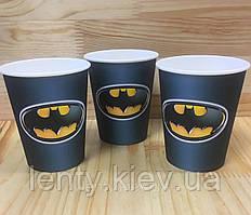Стаканчики бумажные Бэтмен / Бетмен,черный(10шт/уп. 250мл.)полоска  одноразовые детские редкие малотиражные -