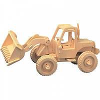 Игровой набор деревянный конструктор 3Д пазлы Wood Craftsman модель Бульдозер  для сборки