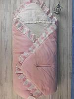 Конверт для выписки ребёнка, розовый с белым