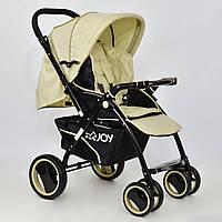Детская коляска прогулочная JOY Т 100 Beige Original футкавер съемный бампер  Бежевая с перекидной ручкой