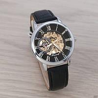 Мужские часы наручные скелетоны Forsining 8099 Black Silver Black 1059-0007 механические с автоподзаводом водонепроницаемые