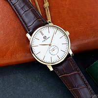 Мужские часы наручные Forsining Gold White Brown 1059-0037  механические с автоподзаводом водонепроницаемые