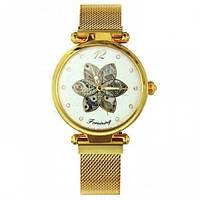 Мужские часы наручные  Forsining Gold White Flower Diamonds 1059-0027 механические с автоподзаводом водонепроницаемые