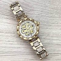 Женские часы наручные Forsining Gold White Flower Diamonds 1059-0080 механические с автоподзаводом водонепроницаемые