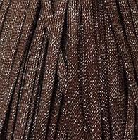 Шнур для одежды плоский 8мм цв шоколад/люрекс серебро (уп 100м) арт. 0545