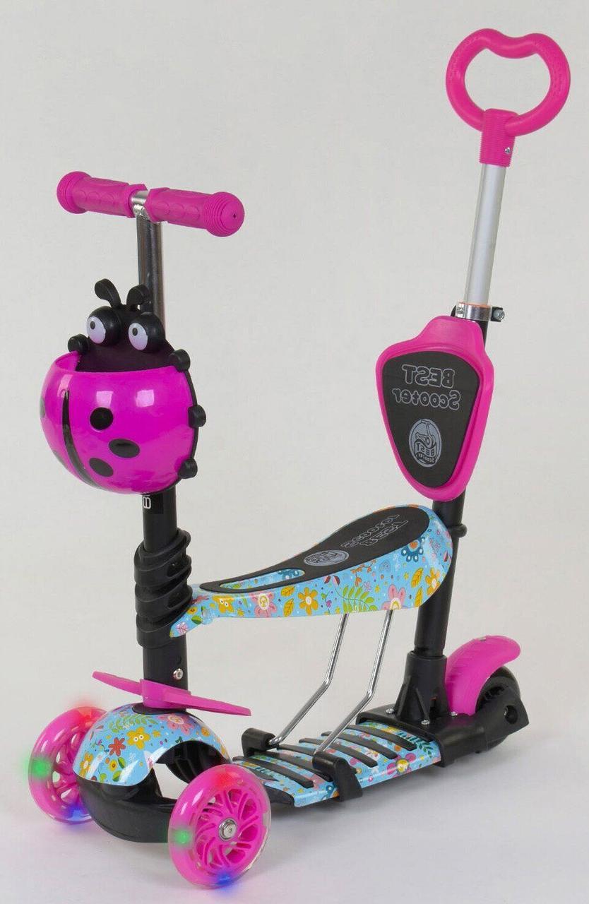 Трехколесный Самокат/Беговел 5 в 1 Scooter - С родительской ручкой -  Цветочки