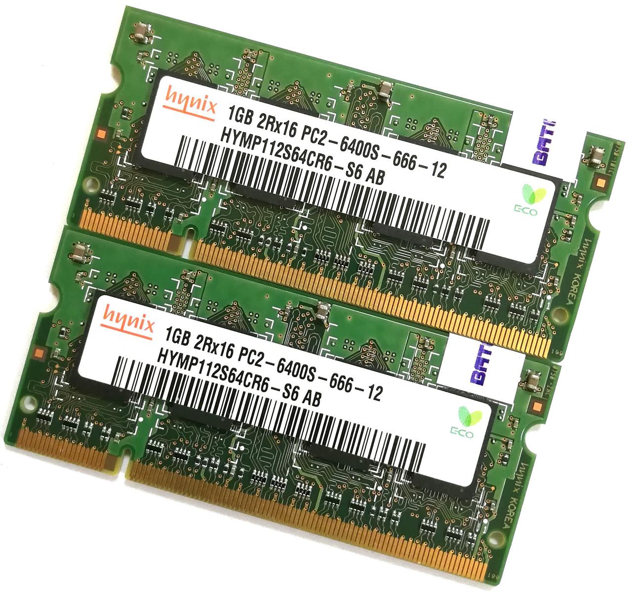 Пара оперативной памяти для ноутбука Hynix SODIMM DDR2 2Gb (2*1Gb) 800MHz 6400s CL6 (HYMP112S64CR6-S6 AB) Б/У